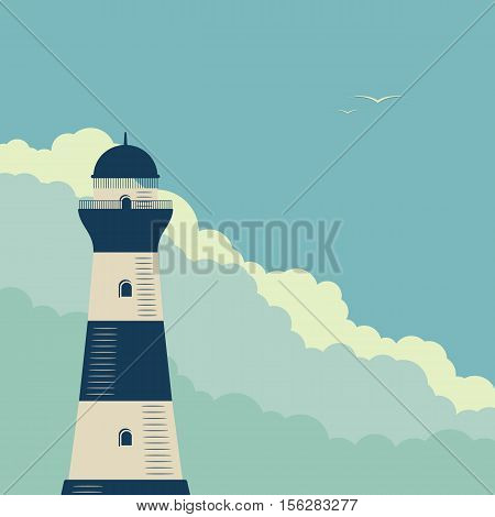 Lighthouse on background of sea sky and clouds. Retro poster vector illustration.