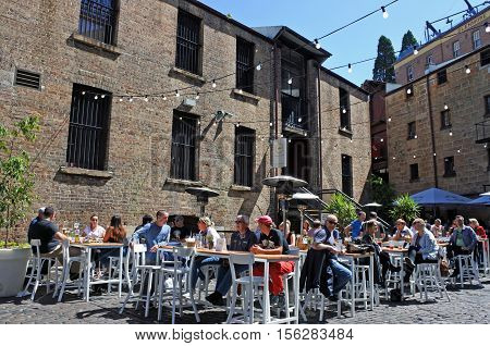 People Dinning Outdoors At The Rocks In Sydney Australia