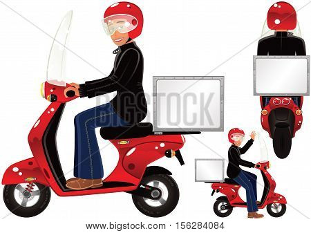 Three images of a typical delivery scooter. Blank space on the storage box for your own message.