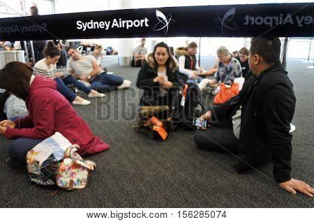 Passengers Waits For A Delight Flight In Sydney Airport Sydney, Australia