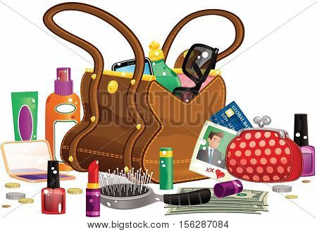 An illustration of a large leather handbag plus various contents, including purse, hairbrush and perfume.