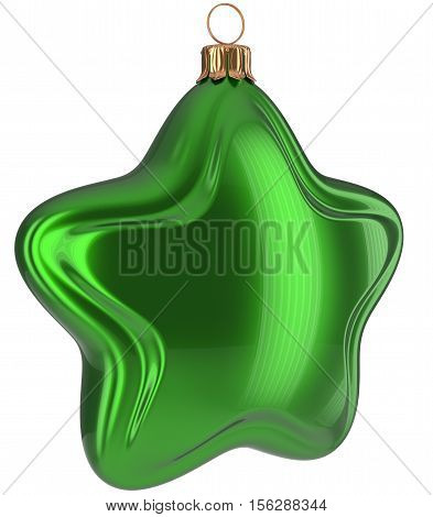 Christmas star shaped Merry Xmas ball green hanging decoration adornment New Year's Eve bauble. Happy wintertime holidays greeting card design element traditional decor ornament blank. 3d illustration