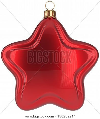 Christmas ball star shaped red decoration Merry Xmas hanging adornment New Year's Eve bauble. Happy wintertime holidays greeting card design element traditional decor ornament blank. 3d illustration