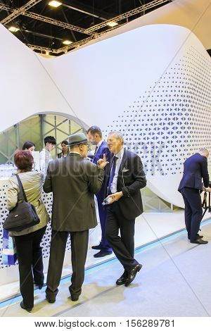 St. Petersburg, Russia - 4 October, Groups of people on the Gas Forum, 4 October, 2016. Petersburg Gas Forum which takes place in Expoforum.