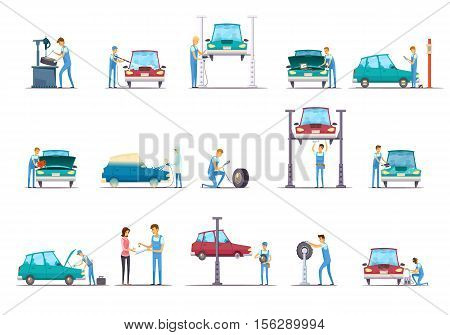 Car repair garage service retro cartoon icons collection with vehicle lift and auto mechanic isolated vector illustration