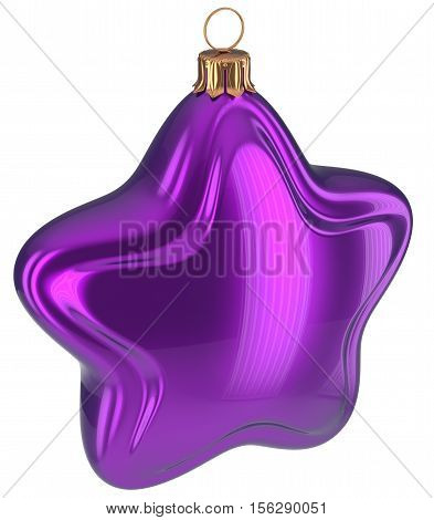 Christmas ball purple star shaped hanging decoration adornment New Year's Eve bauble. Happy Merry Xmas greeting card design element traditional wintertime holidays decor ornament blue. 3d illustration