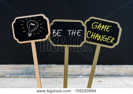 Concept Message Be The Game Changer And Light Bulb As Symbol For Idea