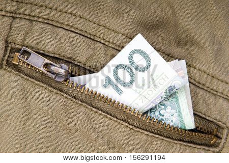 one hundred zloty bill in the pocket