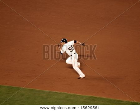 Giants Andres Torres Running Towards Third Base