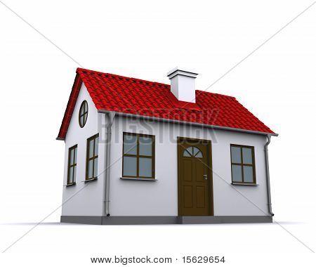 Una pequeña casa con techo rojo sobre un fondo blanco