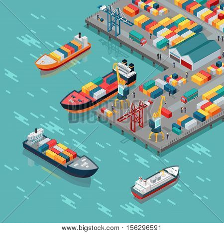 Warehouse port vector concept. Isometric projection. Ships with containers on the berth at the port, cranes, workers. cars, hangars ashore. Transatlantic carriage. For transport, delivery company landing page