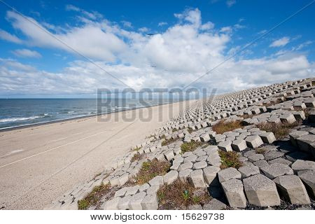 Dutch sea dike from stones in North Holland