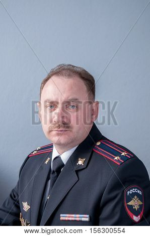 Portrait of a Russian lieutenant colonel of police