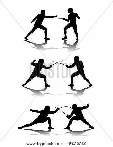 Black Silhouettes Of Athletes Fencers