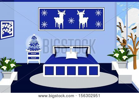 Bedroom interior in blue colors vector illustration. Bed, window, bedside table, plant, tree, painting