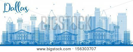 Outline Dallas Skyline with Blue Buildings. Business Travel and Tourism Concept with Modern Architecture. Image for Presentation Banner Placard and Web Site.