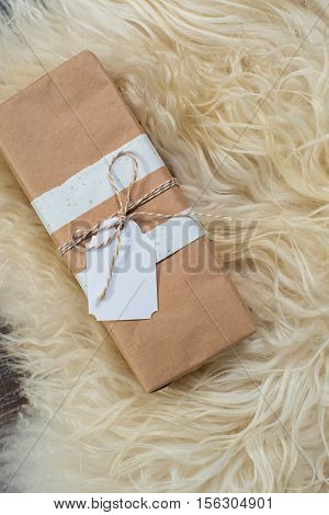 Gift box with blank gift white tag