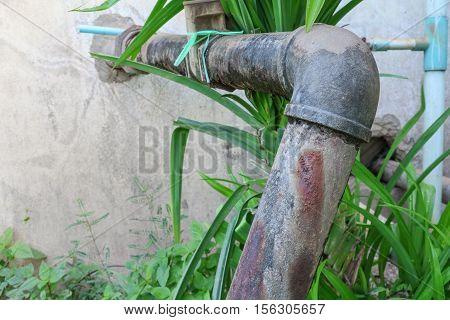 Plumbing Steel dilapidated old rusty industrial tap pipe