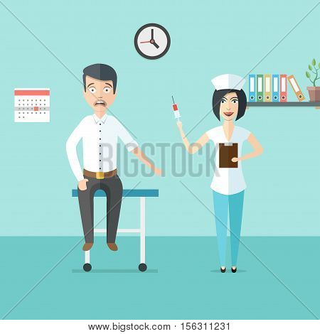 Friendly woman doctor or nurse with syringe in her hand and scared man. Doctor and patient in doctors office. Medical healthcare illustration in modern flat style