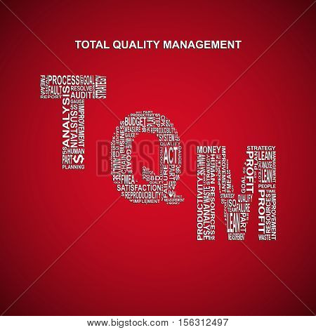 Total quality management diagonal typography background. Red background with main title TQM filled by other words related with total quality management method