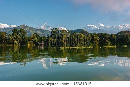 Fewa Lake and the Annapurna range in Pokhara, Nepal
