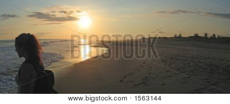 A Woman On A Tropical Beach During The Sunset, Puerto Angel, Mexico, Panorama