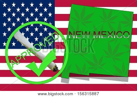 New Mexico State On Cannabis Background. Drug Policy. Legalization Of Marijuana On Usa Flag,