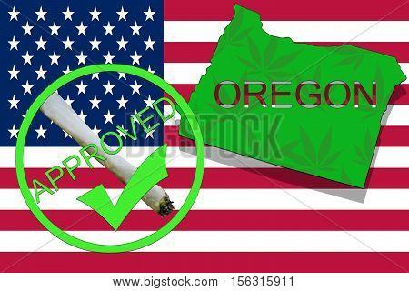 Oregon State On Cannabis Background. Drug Policy. Legalization Of Marijuana On Usa Flag,