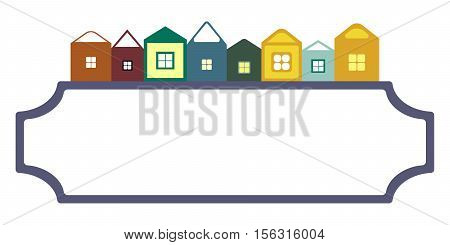 vector houses on frame of signboard for a christmas and new year cards background