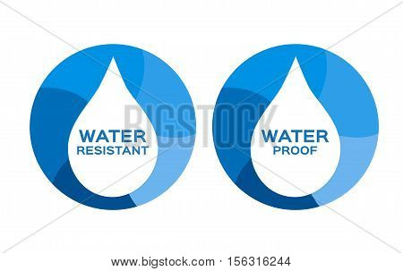Water resistant and proof logo , icon and vector . blue Water resistant and proof version