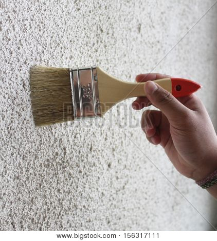 brushing the dusty walls with wooden brush