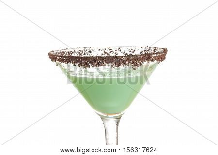 closeup isolated chocolate grasshopper cocktail on white