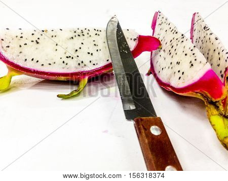 Pitahaya or dragon fruit (Hylocereus undatus) cut slices
