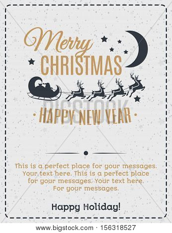 Christmas greeting card gold color with vintage label consisting Santa Claus driving in a sleigh and deers and wish Merry Christmas Happy New Year on holiday background. Christmas decoration element