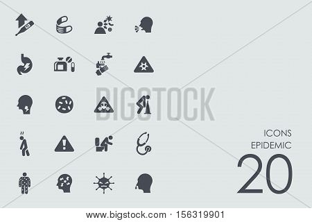 epidemic vector set of modern simple icons