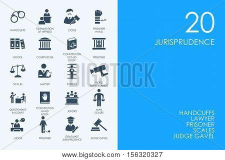 BLUE HAMSTER Library jurisprudence vector set of modern simple icons
