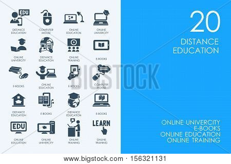 BLUE HAMSTER Library distance learning vector set of modern simple icons