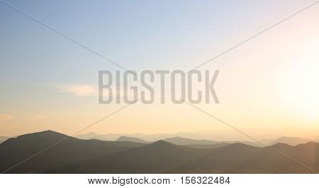 Ridge Mountains Landscape. Sunset, Sunrise, Nature Background. National Park Lovcen, Montenegro