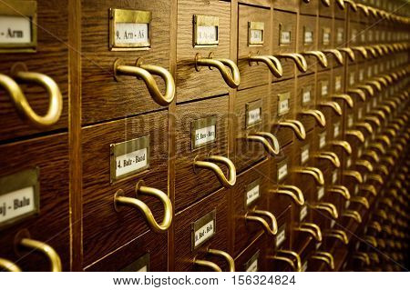 Closeup of old Vintage Library Card Catalog