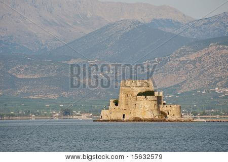 landscape at Nafplion with the Bourtzi tower in the Argolic gulf
