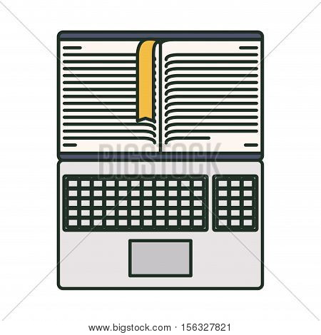 Book and laptop icon. Ebook download elearning reading and electronic theme. Isolated design. Vector illustration