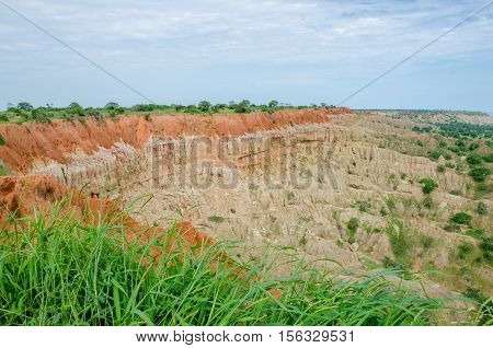 Natural phenomenon Miradouro da Lua or the Moon Landscape in Angola. Wind and rain erosion has formed this fantastical landscape. The photo shows the collapsed part.