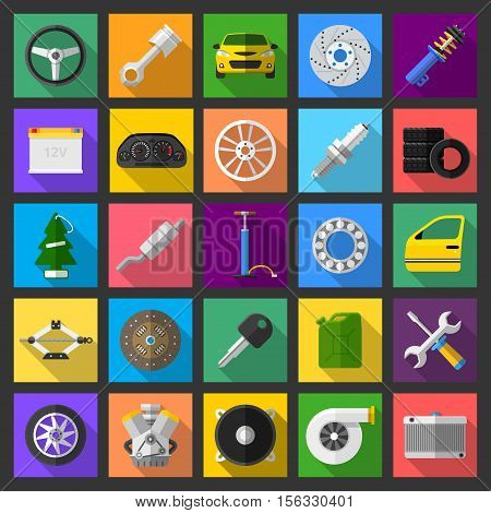 Auto car mechanic service maintenance icons. Flat vector illustrations of brakes, engine, wheel, exhaust, tires and other car parts with long shadow
