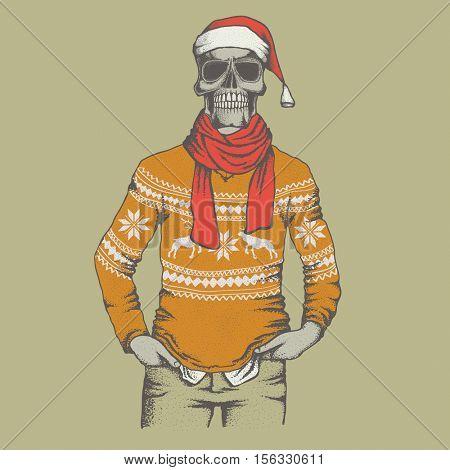 Vector skull  in skull in sweater illustration. Hand drawn skull. Skull human in sweatshirt