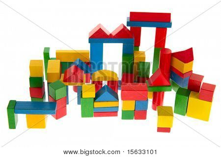 Building from wooden blocs isolated over white