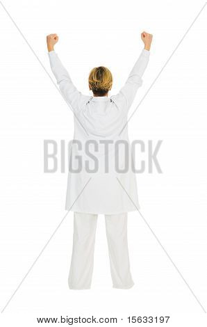 woman doctor who rejoices in white background