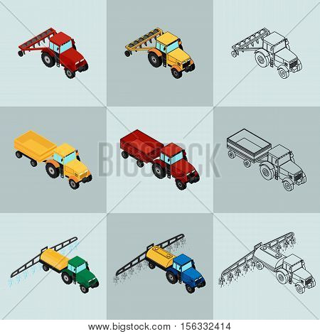 Vector illustration. Set of agricultural icons in different styles. Farm equipment. The tractor-trailer tractor sprays insecticide and with a plow. Color outline. Isometric 3D