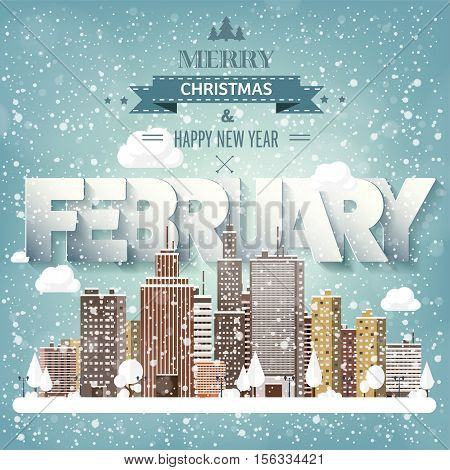 February month, winter cityscape.City silhouettes.Town skyline. Panorama. Midtown houses.New year, christmas.Holidays in January, December.