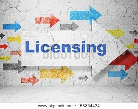 Law concept:  arrow with Licensing on grunge textured concrete wall background, 3D rendering