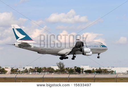 Cargo Jet Landing At Miami International